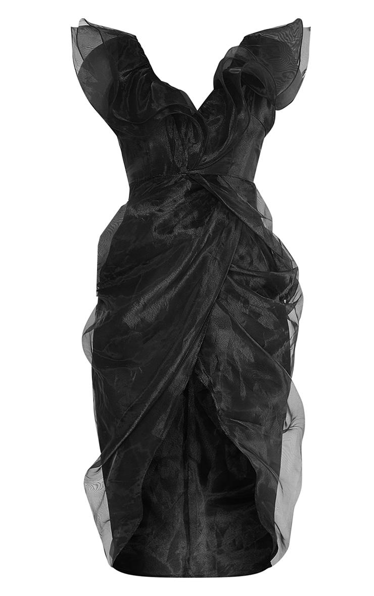 Black Organza Draped Frill Detail Midi Dress 5