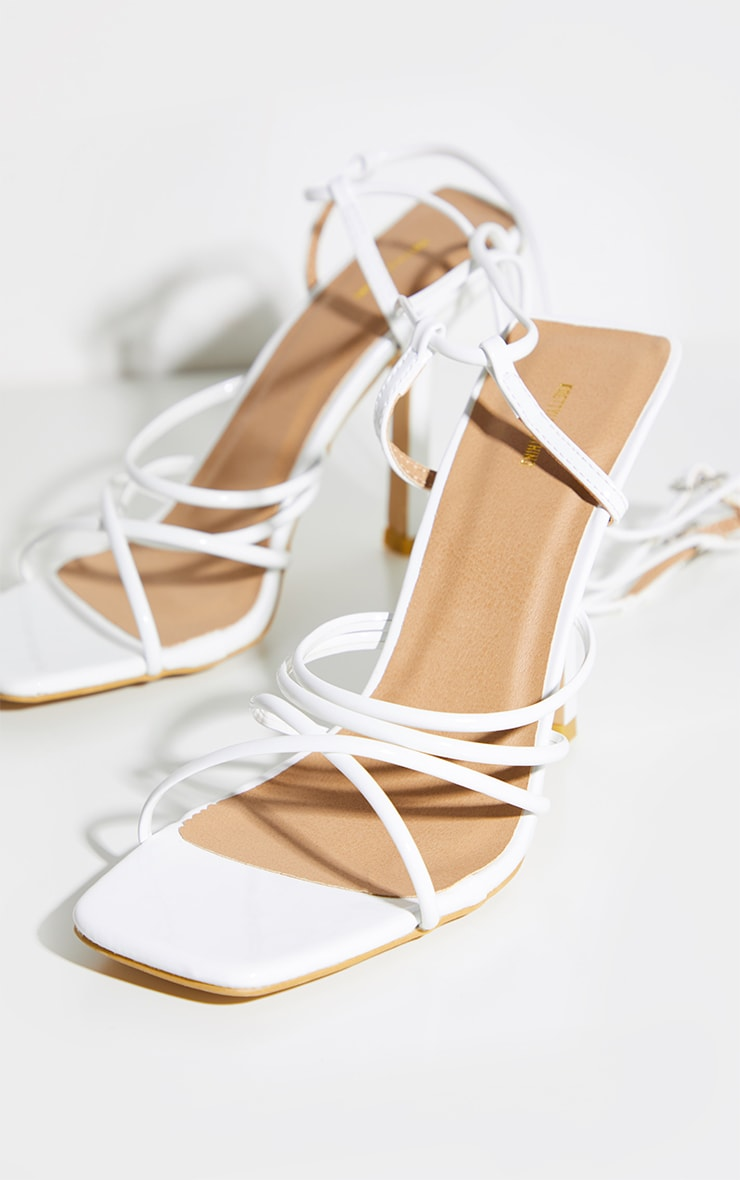 White Squared Strappy Heels 3