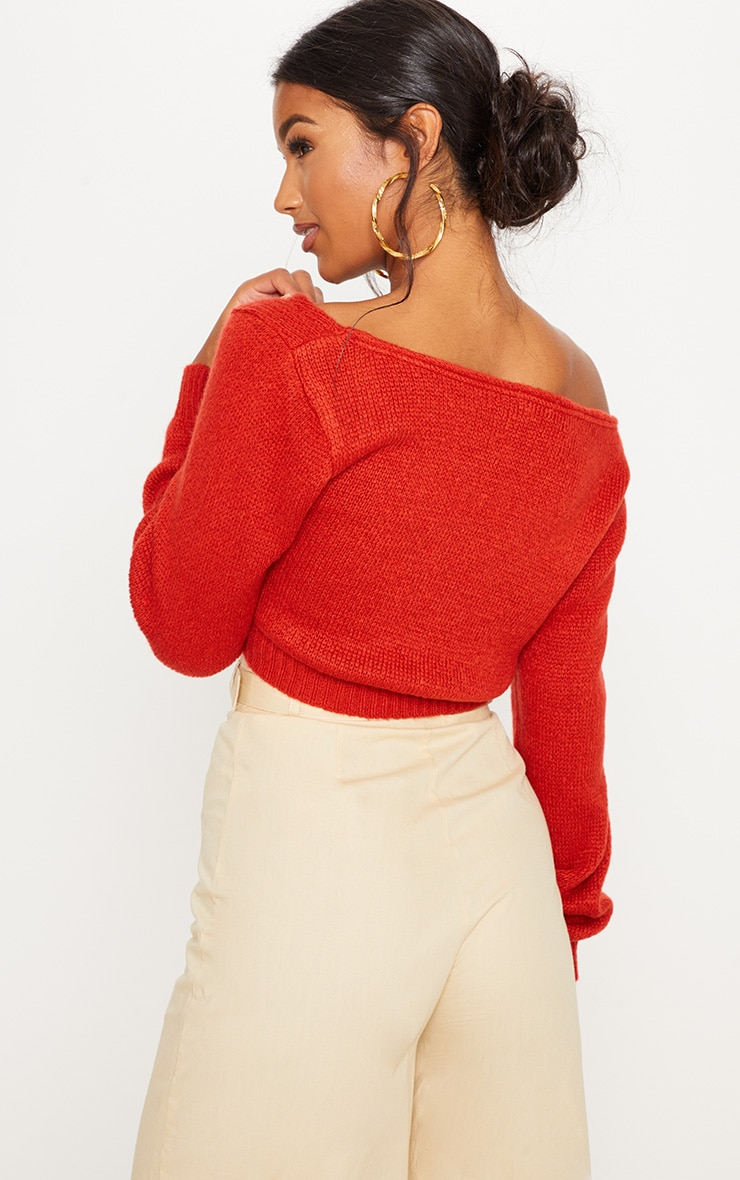 Rust V Neck Off The Shoulder Soft Knitted Crop Jumper  2
