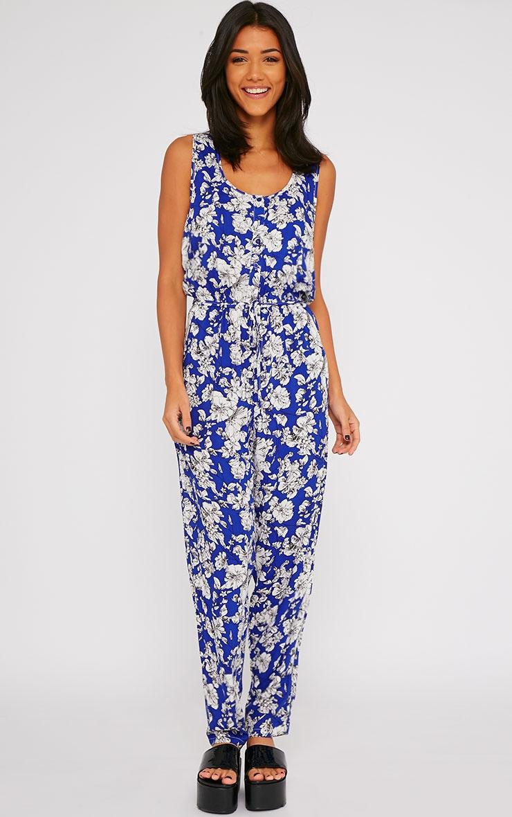 Elisa Blue Floral Print Jumpsuit  4