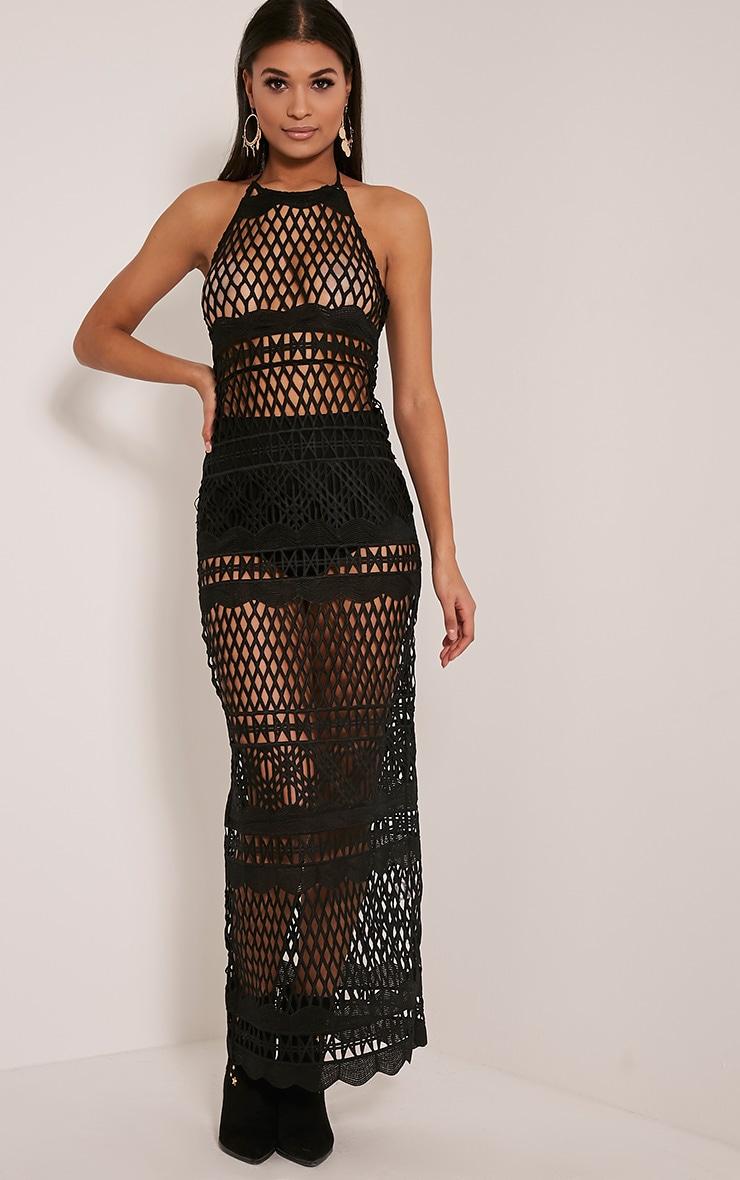 Alaya Black Crochet Maxi Dress 1
