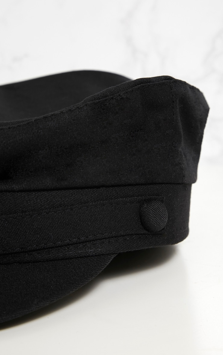 Black Plain Button Detail Baker Boy Hat 4