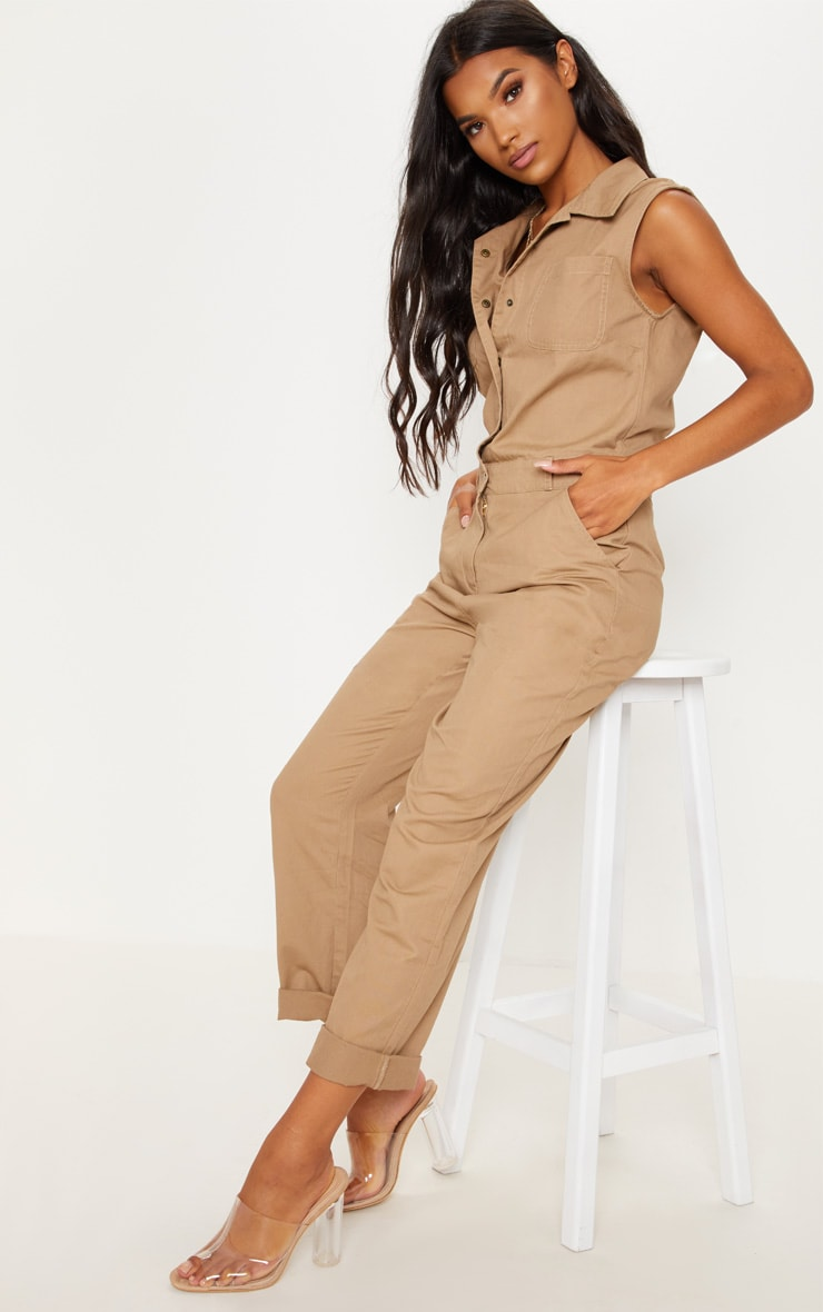 Stone Sleeveless Utility Boilersuit 1
