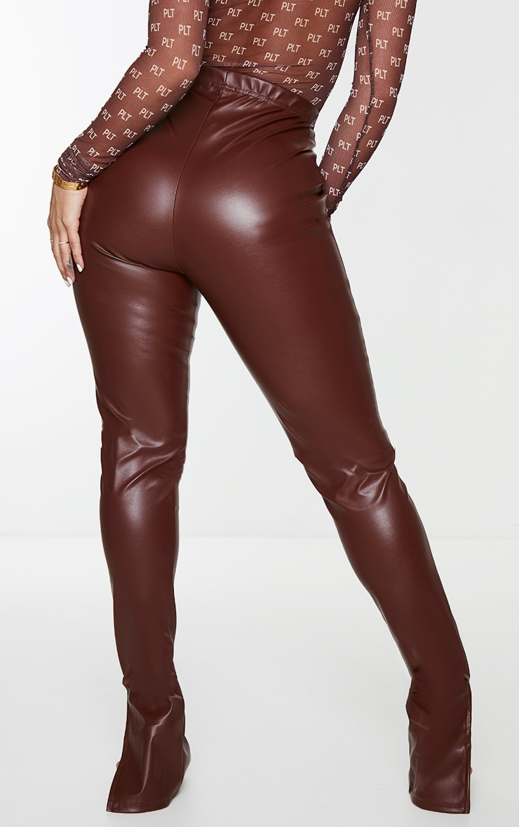 Shape Chocolate Brown PU Split Hem Trousers 3