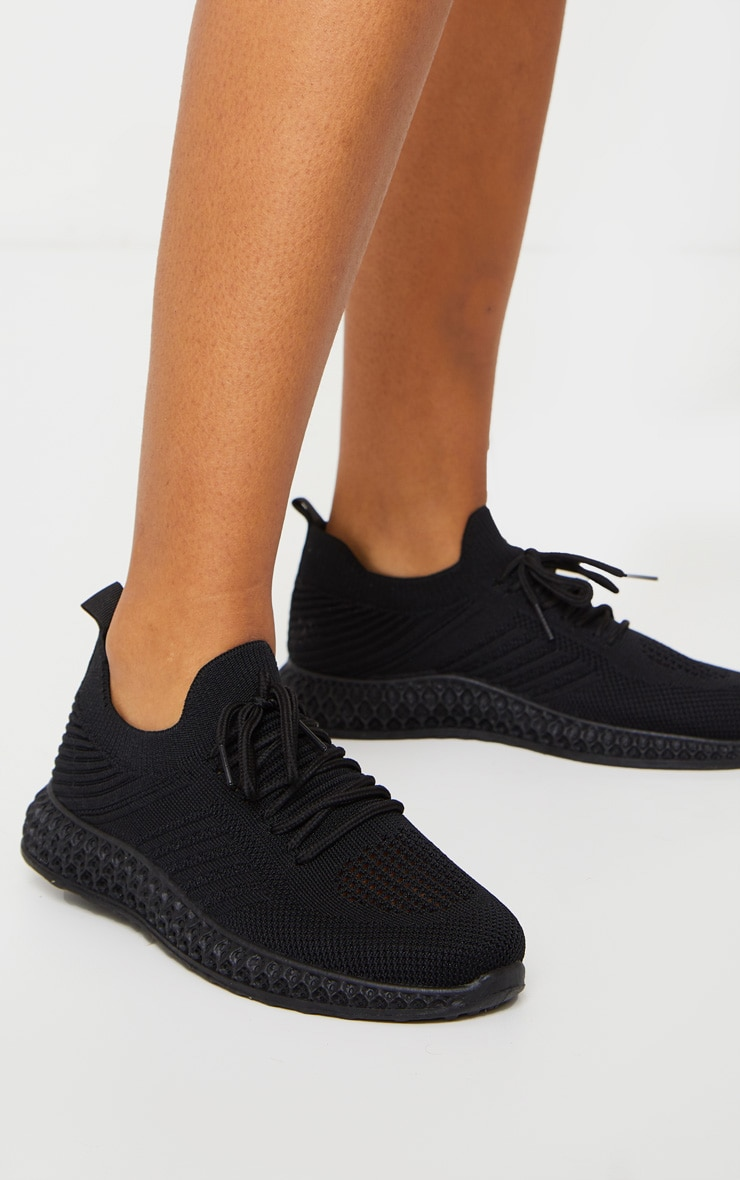 Black Knitted Lace Up Trainers 1