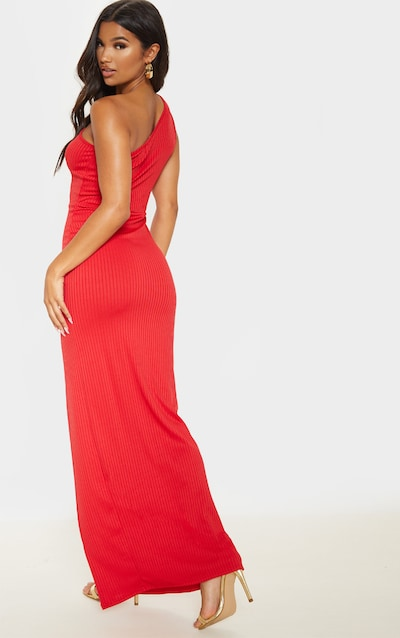 Red One Shoulder Ribbed Split Maxi Dress
