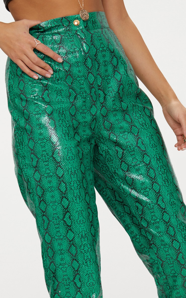 Jade Green Faux Leather Snake Print Slim Leg Pants 6