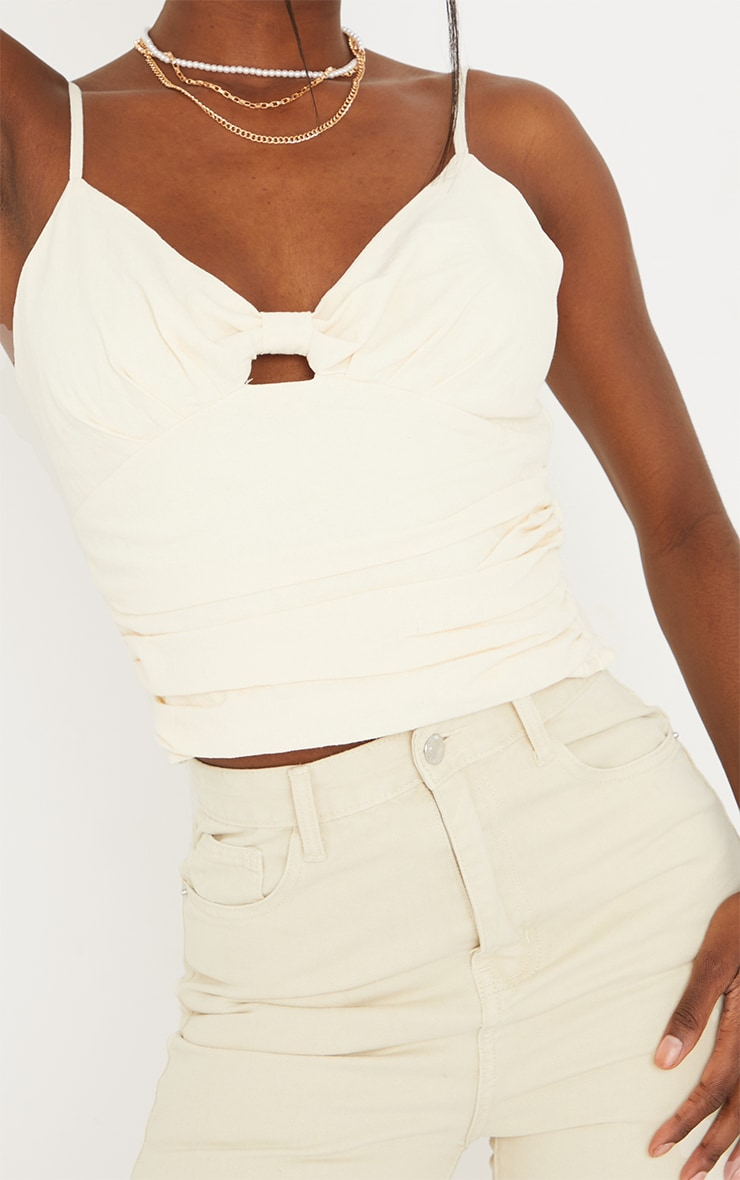 Tall Stone Knot Front Linen Feel Mix Strappy Top 4