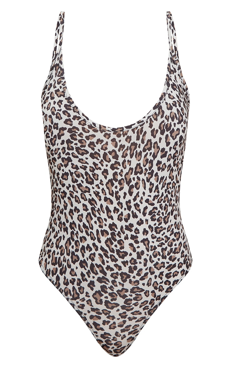 Grey Slinky Leopard Scoop Neck Thong Bodysuit 3