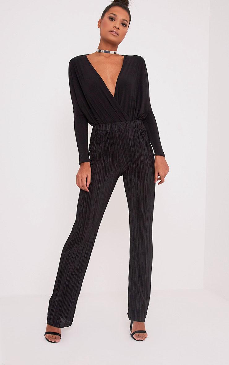Follie pantalon taille haute plissé noir  1