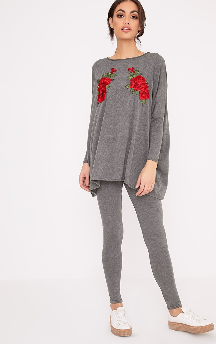 Mandy Grey Floral Embroidery Top & Leggings Set 1