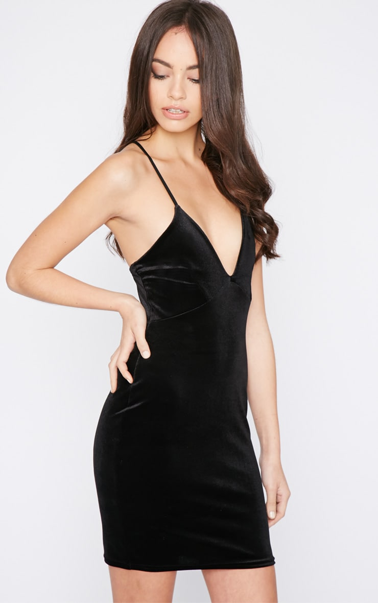 Monique Black Velvet Mini Dress 4