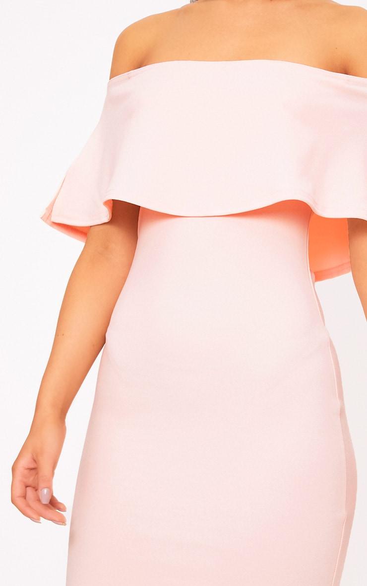 Nude Bardot Frill Bodycon Dress 5