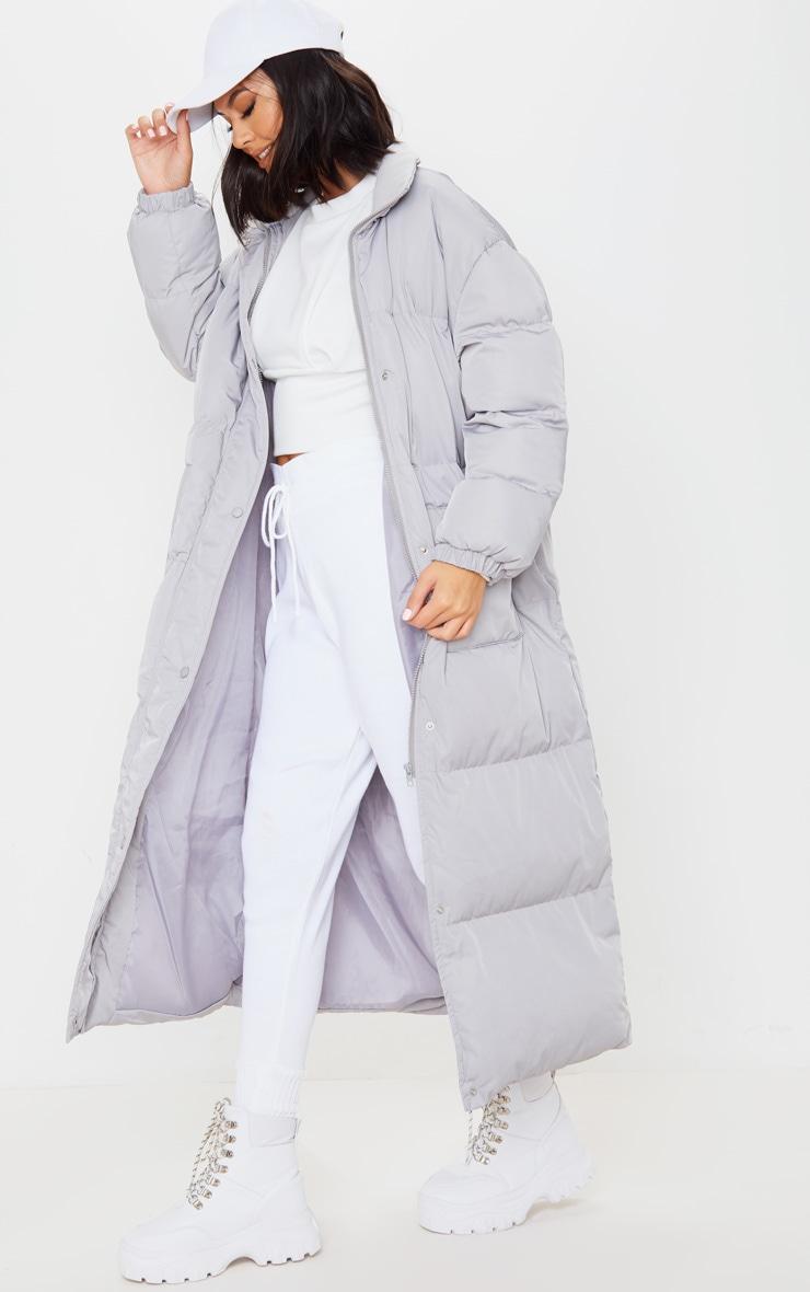 Light Grey Maxi Puffer Coat 1