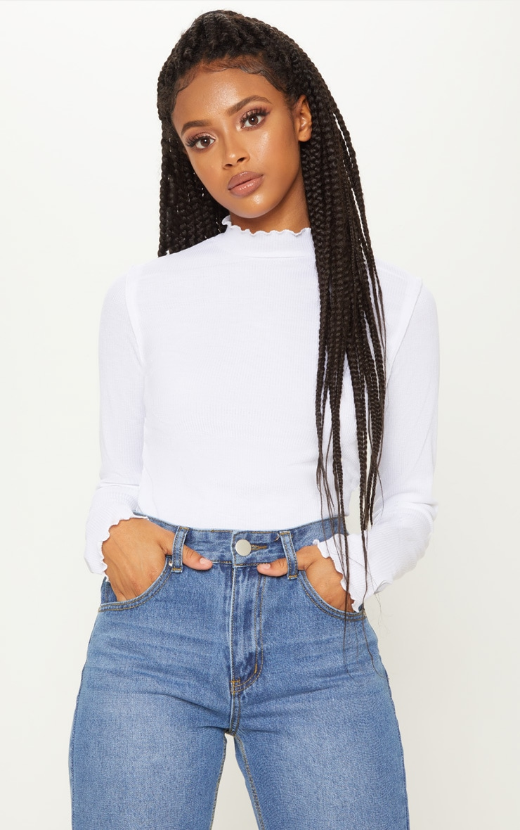 White Frill Rib High Neck Long Sleeve Top 1