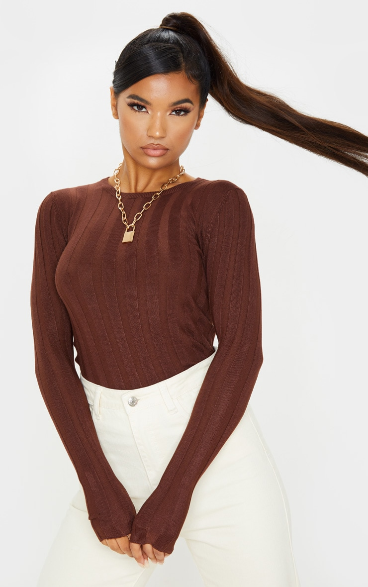 Brown Wide Knitted Rib Fitted Top 1