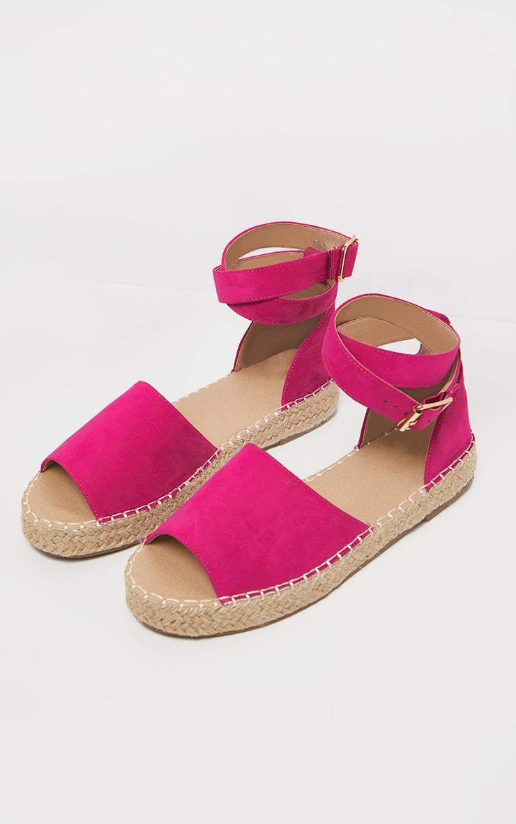 Fuchsia Peep Toe Espadrille Flat Sandal 3