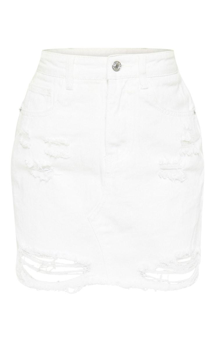 White Distressed Midi Skirt  3