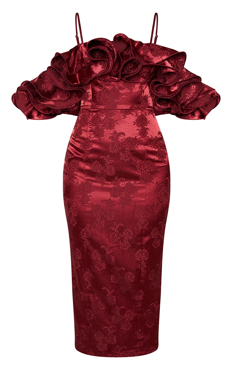 Burgundy Frill Detail Bardot Jacquard Midi Dress 3