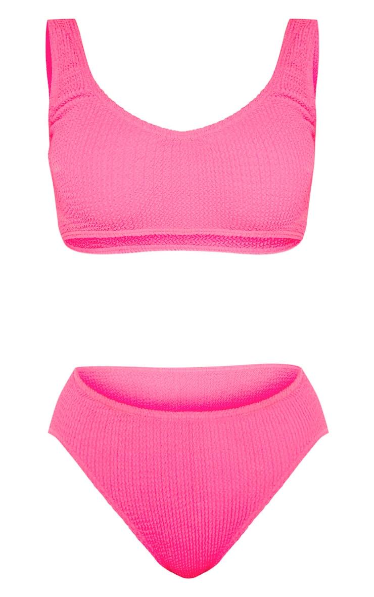 Neon Pink Crinkle Deep Scoop Bikini Top 6