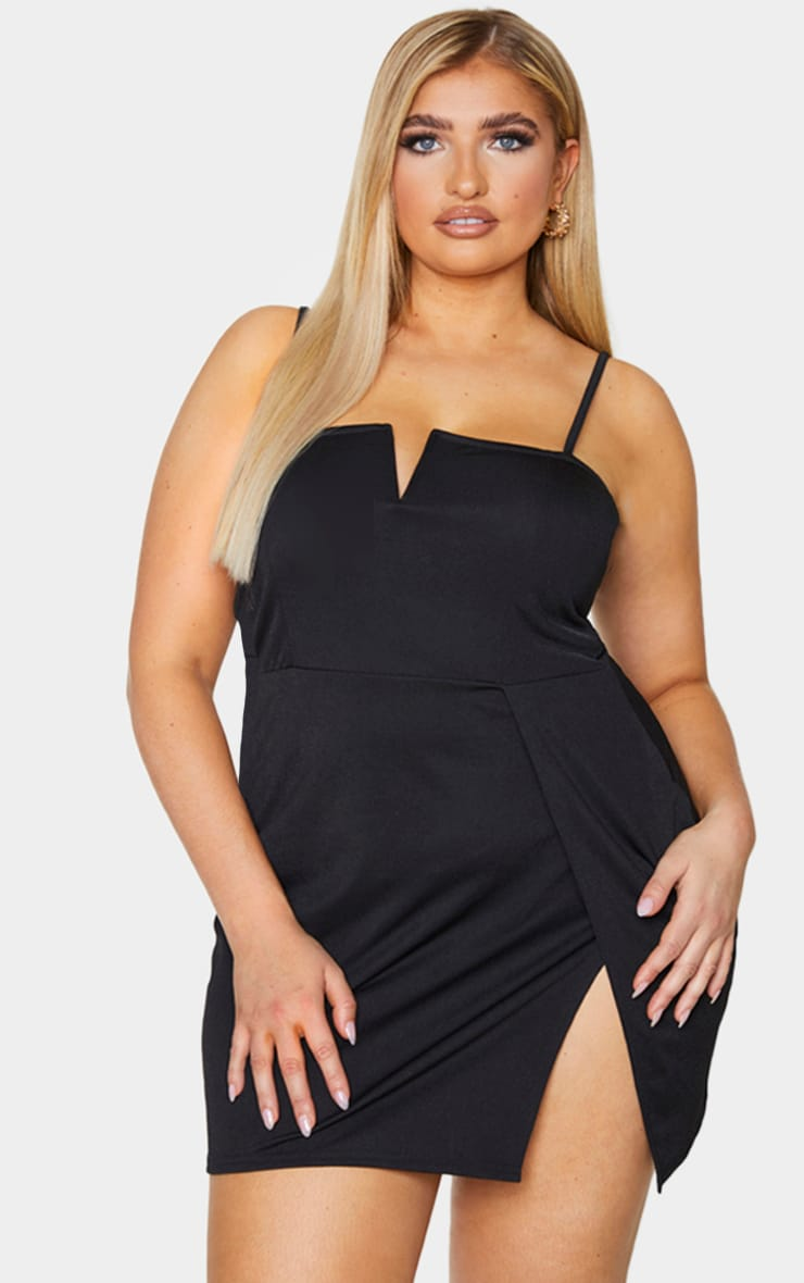 Plus Black Extreme Thigh Split Panelled Plunge Bodycon Dress 3