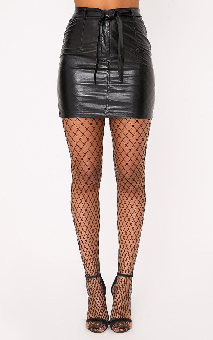 Erika Black High Shine Faux Leather Mini Skirt 2