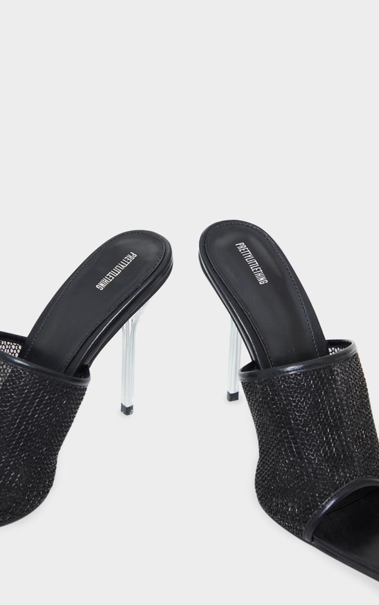 Black Mesh Front Mule Pin High Heels 4