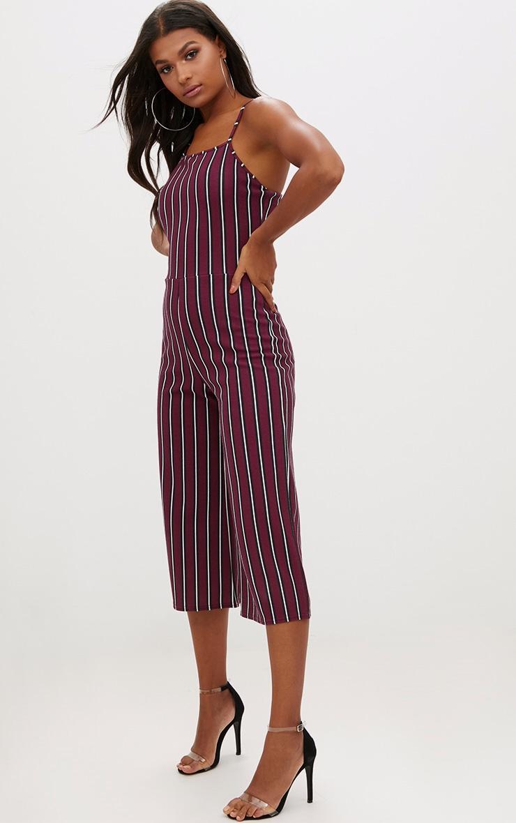 Burgundy Stripe Culotte Jumpsuit 4