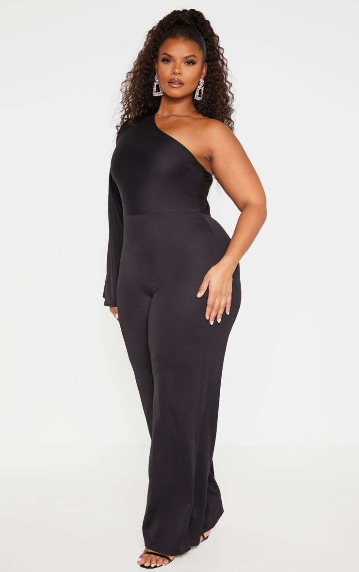 Plus Black One Shoulder Jumpsuit 4