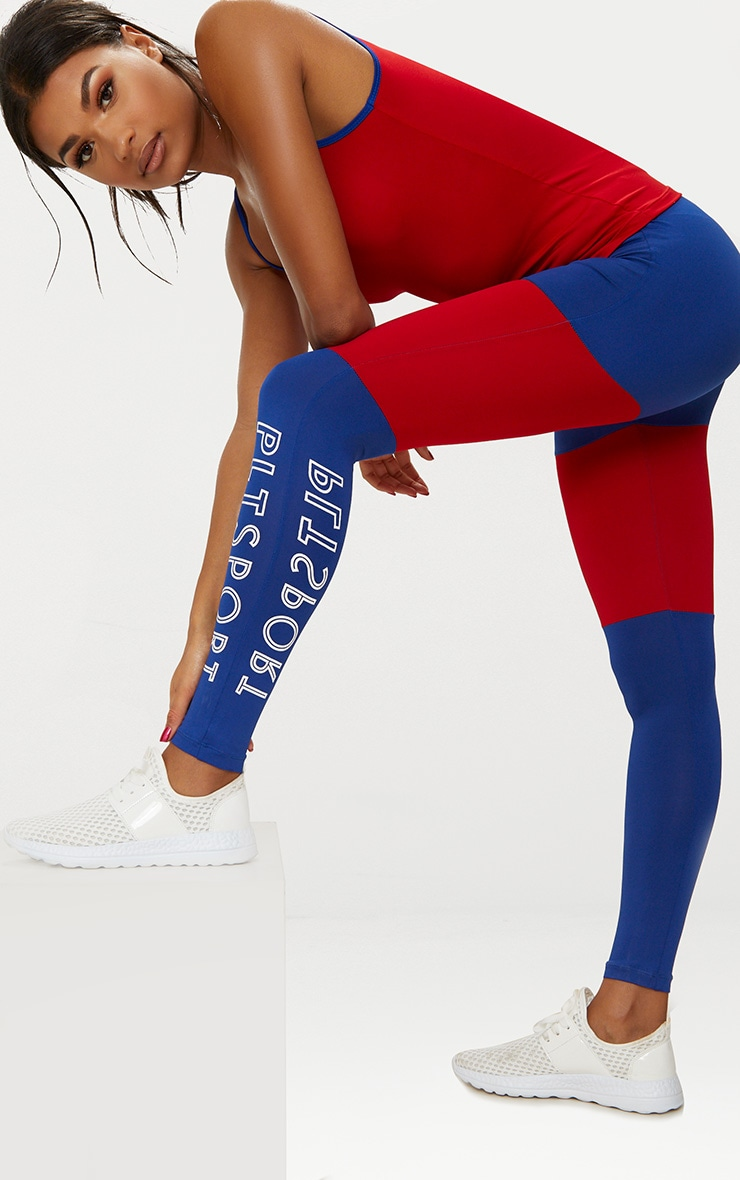 Cobalt Colour Block Sports Leggings 1