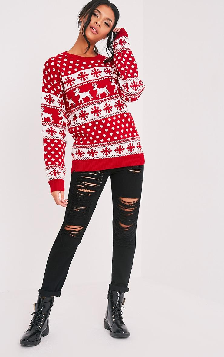 Snowflake/Reindeer Red Mix Christmas Jumper 5