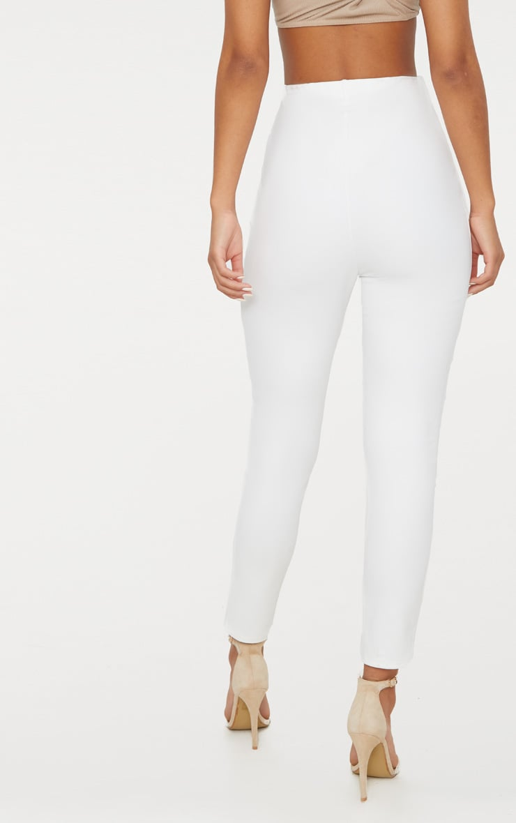 White High Waisted Pleat Front Detail Trouser 4