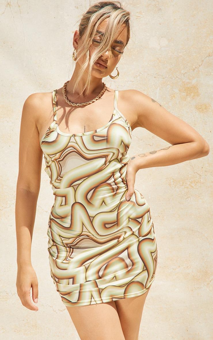 Petite Green Geo Print Strappy Square Neck Bodycon Dress 1