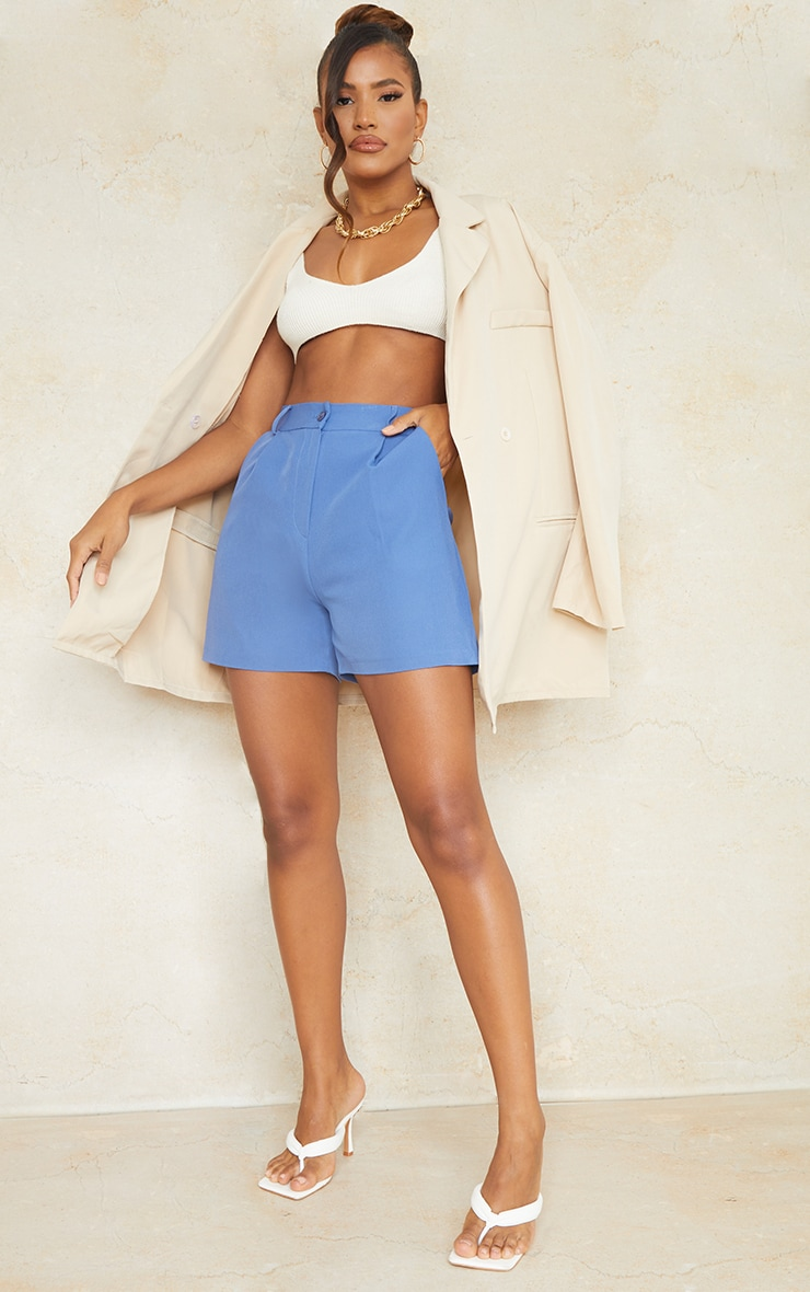 Dusty Blue Woven Tailored Runner Shorts 1