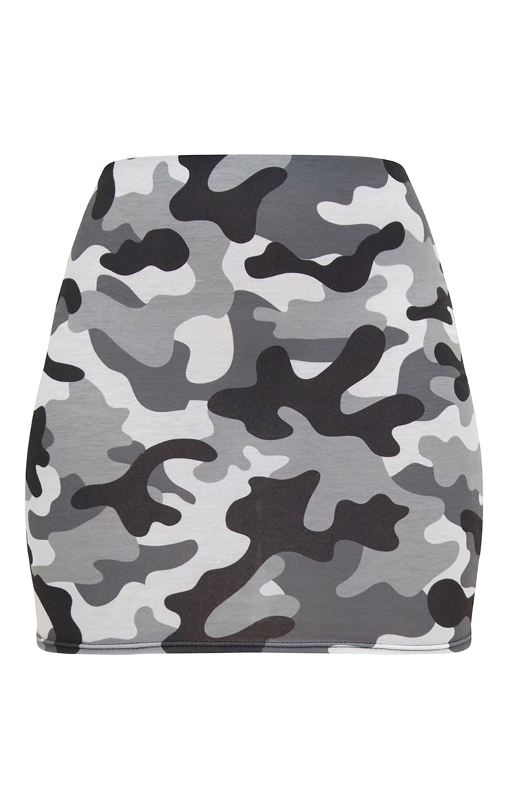 Grey Camo Print Mini Skirt 3