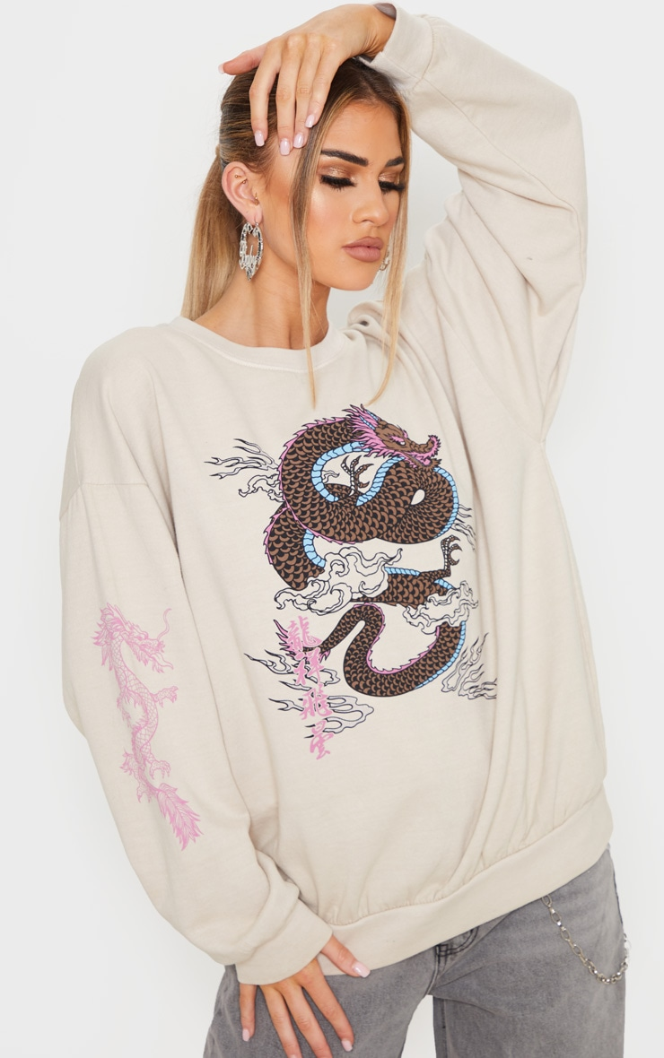 Sand Dragon Print Washed Long Sleeve Sweater 1