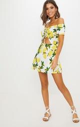 Lemon Ruched Cut Out Bardot Shift Dress 3