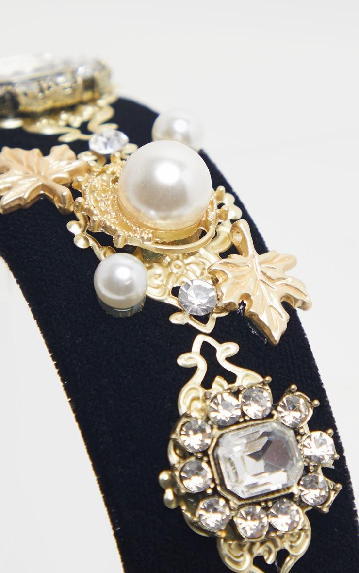 Serre-tête noir à perles style Renaissance 3