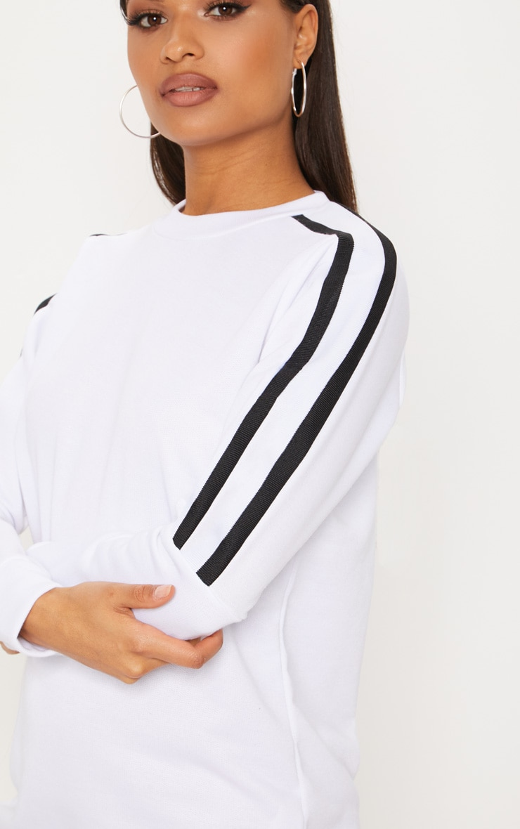 White Sport Stripe Long Sleeve Jumper Dress 5
