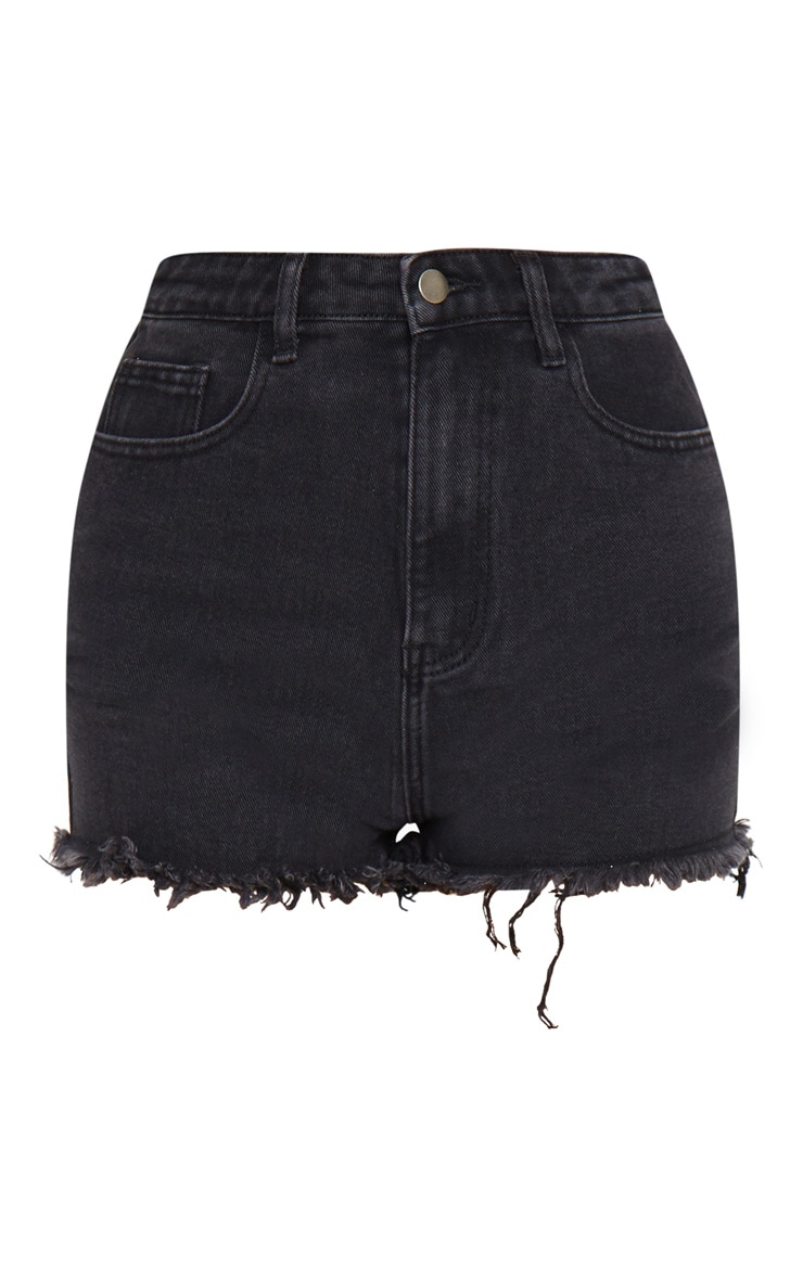 PRETTYLITTLETHING Washed Black Frayed Hem Bum Rip Denim Shorts 5