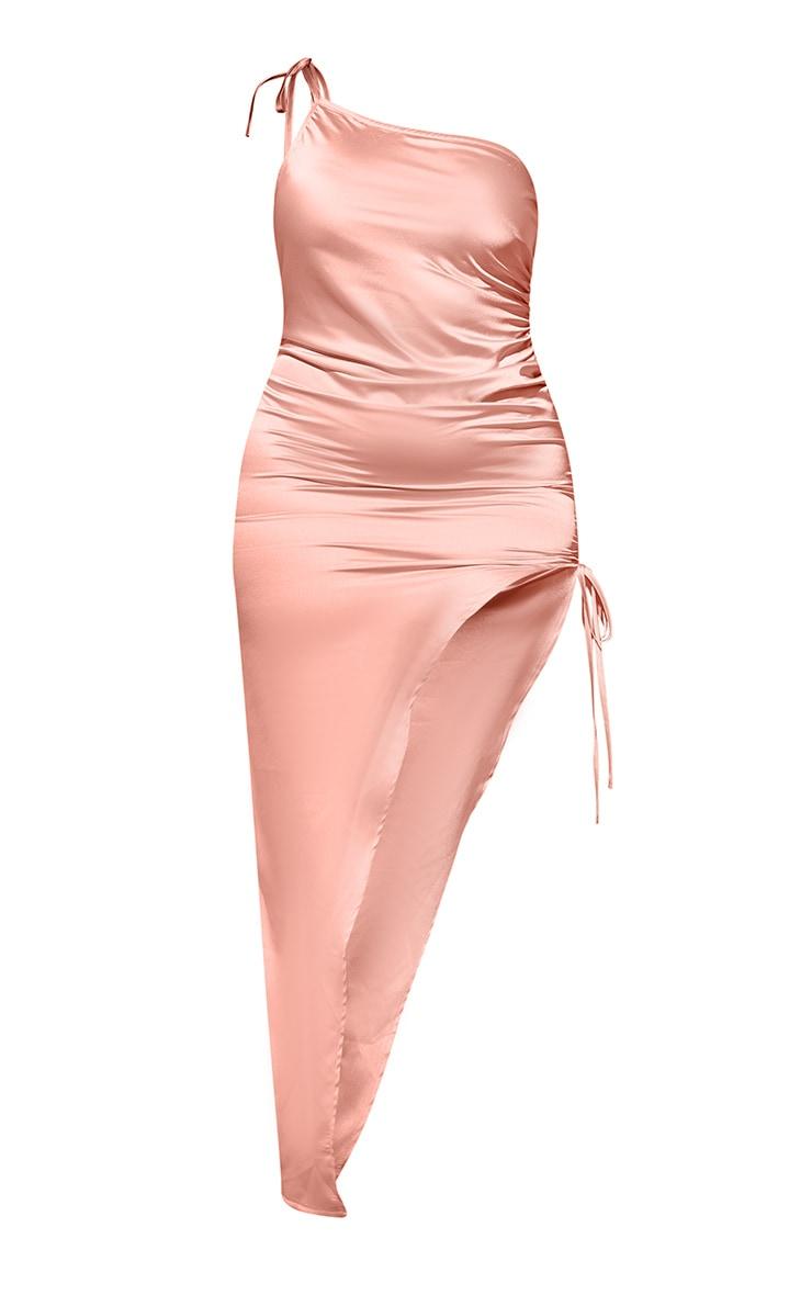 Plus Coral Satin Asymmetric Side Split Maxi Dress 6