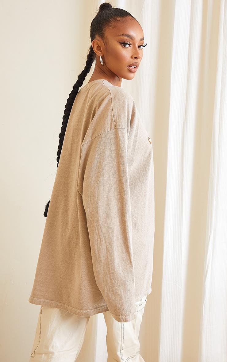Sand Washed South Dakota Printed Long Sleeve T Shirt 2