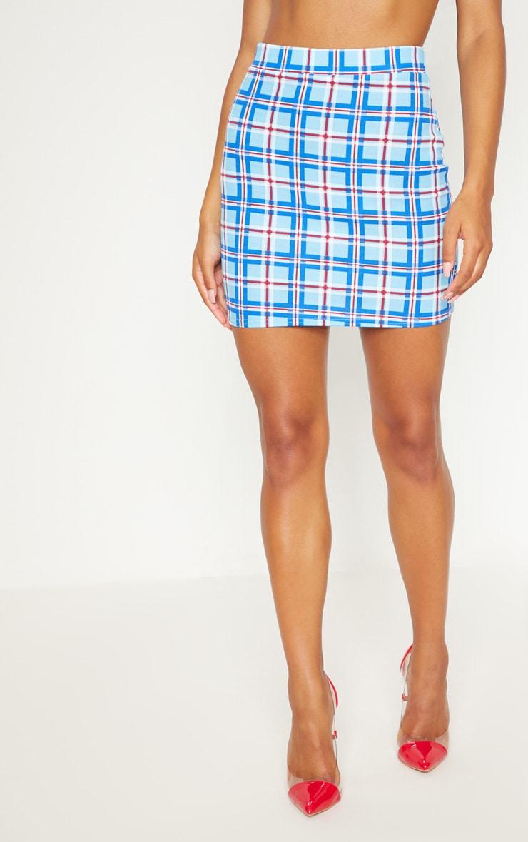 Blue Checked Print Mini Skirt 2