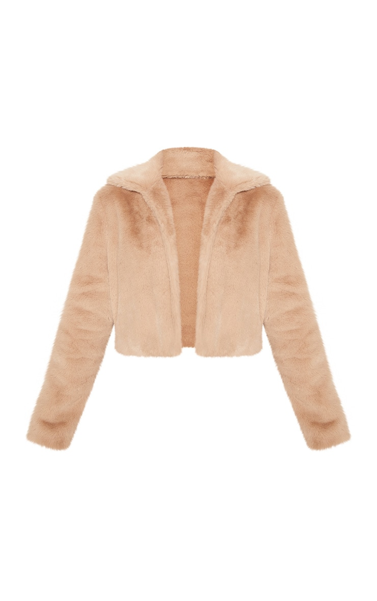 Stone Cropped Faux Fur Coat 4