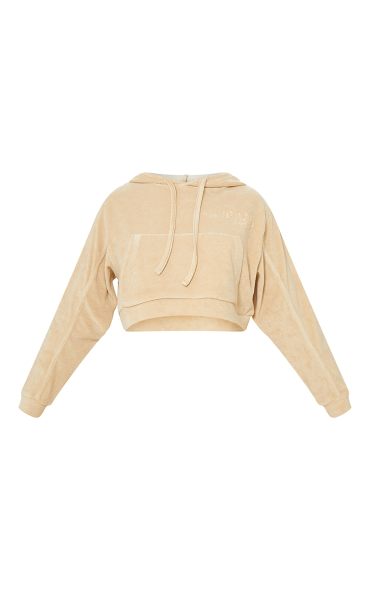 Petite Stone Velour Oakland Cropped Hoodie 5
