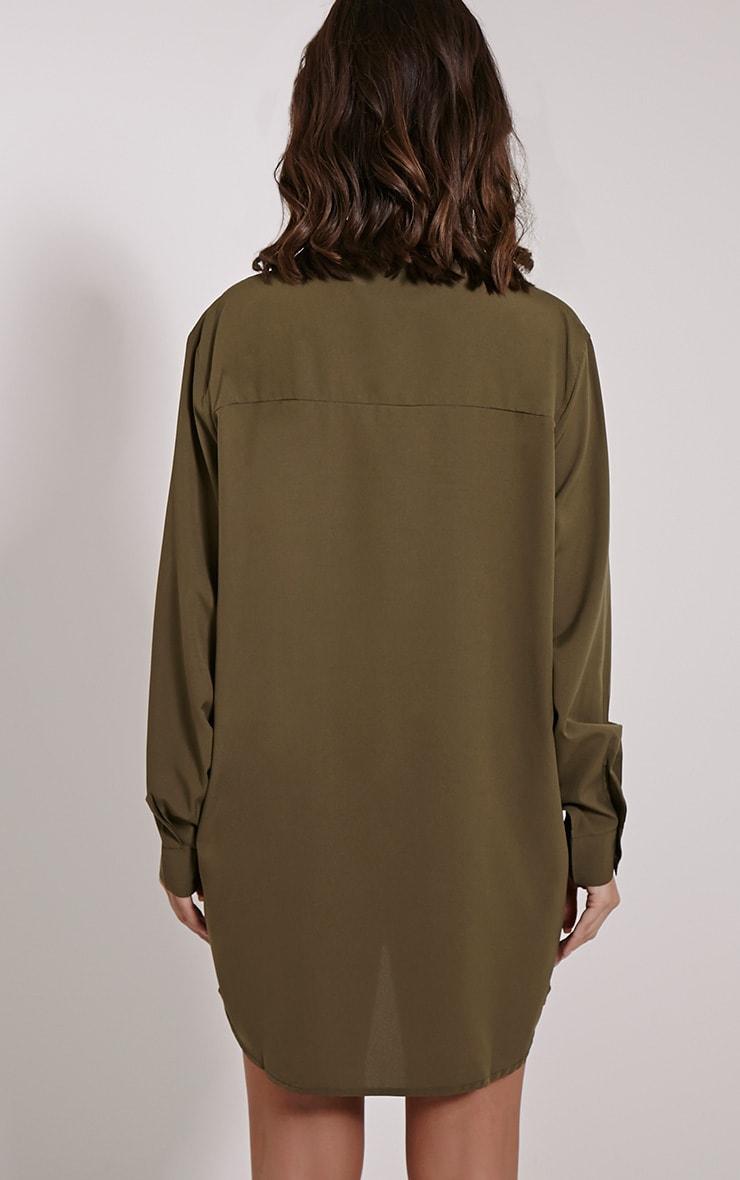 Effy Khaki Crepe Shirt Dress 2
