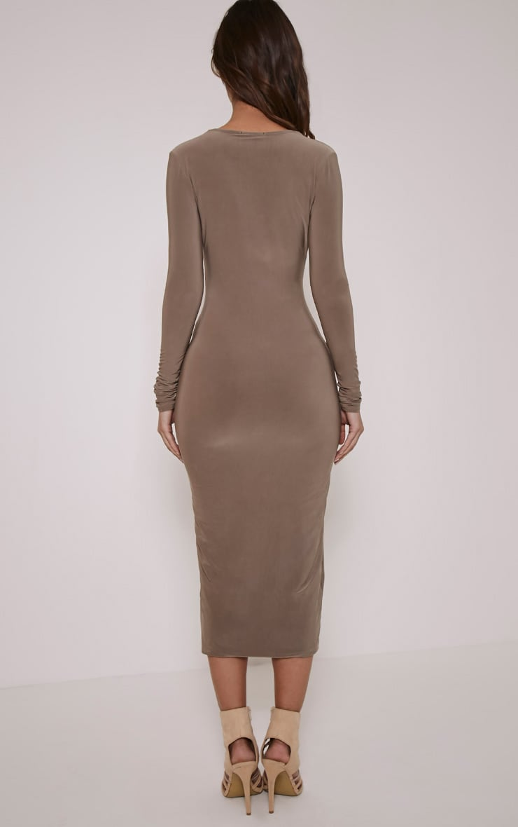 Christa Mocha Slinky Plunge Split Front Midi Dress 2