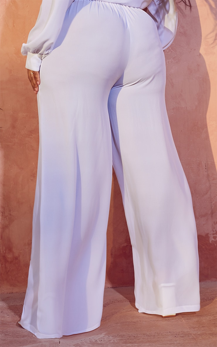 Plus White Tie Waist Beach Pants 3