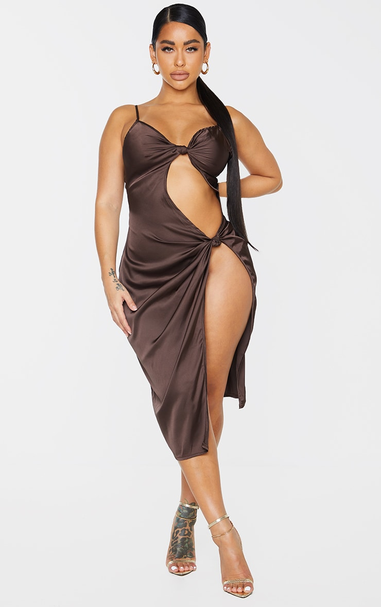 Shape Chocolate Brown Satin Knot Detail Split Front Midi Dress 1