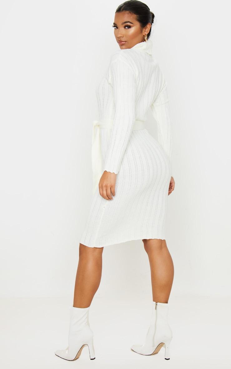 Cream Belted Rib Knit Midi Dress 2